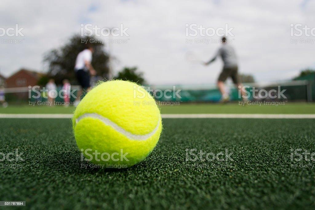 On the tennis court stock photo