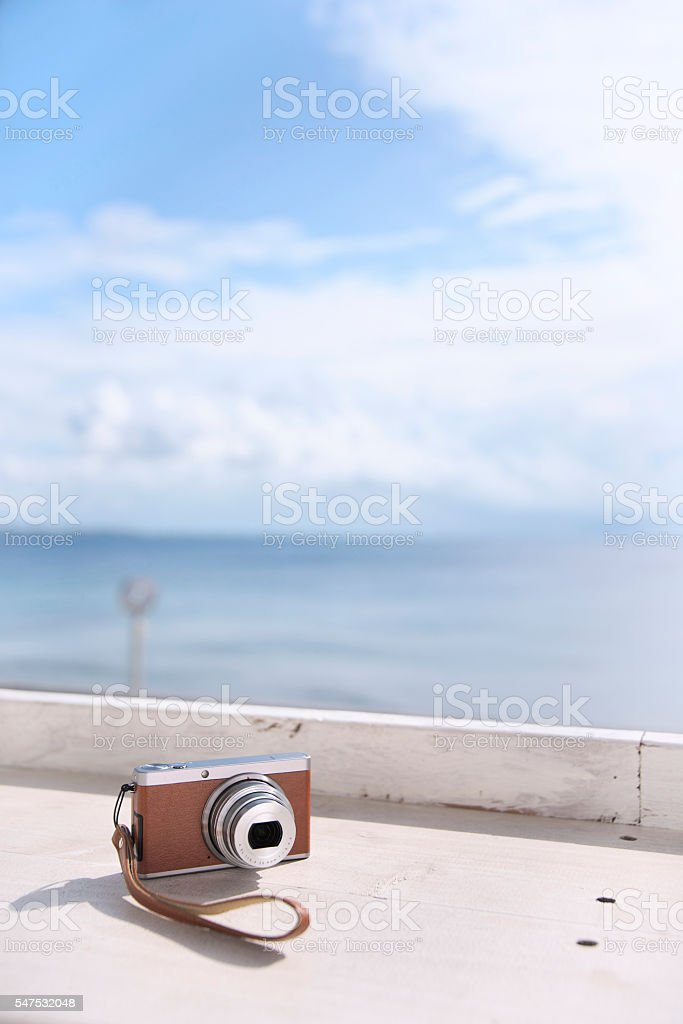 On the terrace memories camera of the journey stock photo