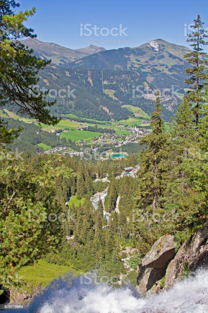 On the top of Krimml waterfalls stock photo