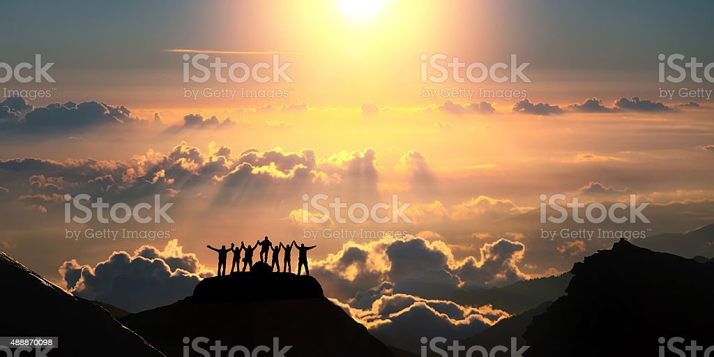 On the top of the world together stock photo