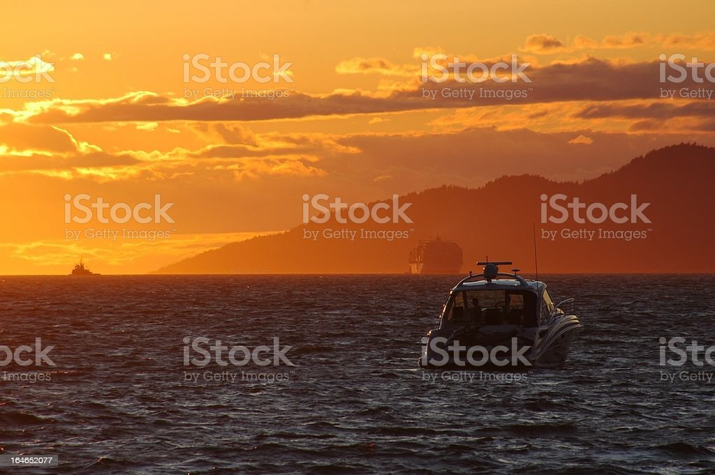 On the water at sunset royalty-free stock photo