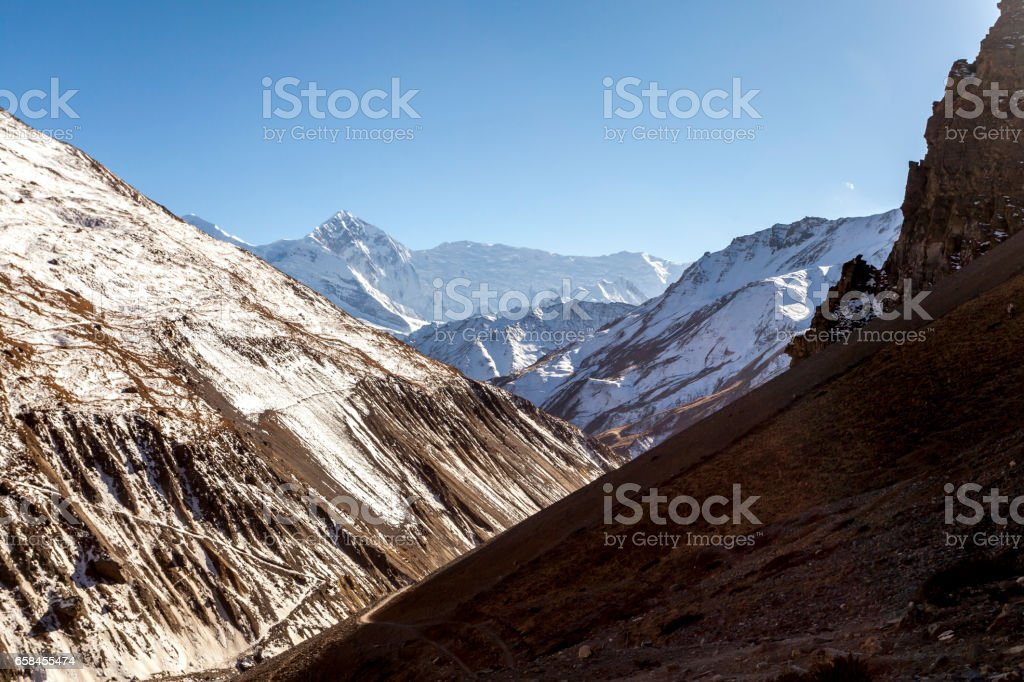 On the way in the direction of Tilicho lake. Nepal, Himalayas, Annapurna Conservation Area stock photo