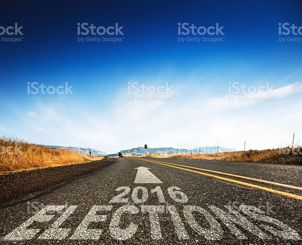 on the way to the election day stock photo