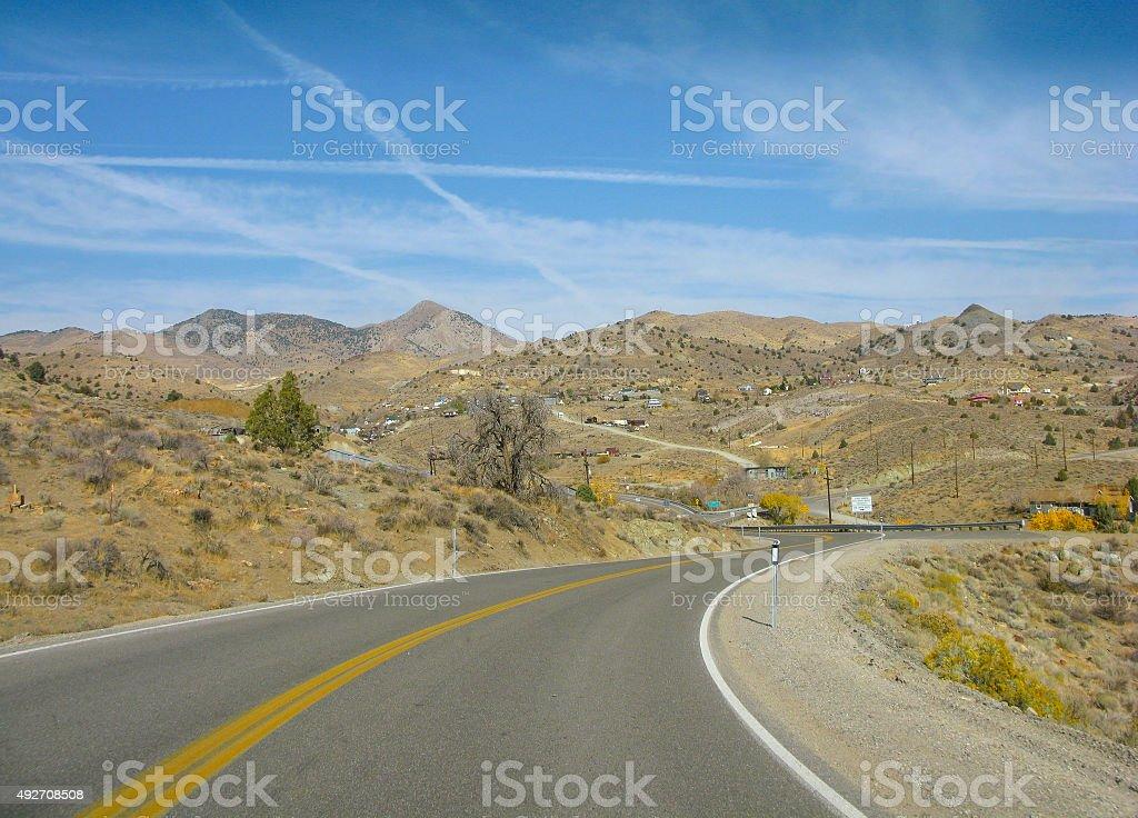 On the way to Virginia city, Nevada, USA stock photo