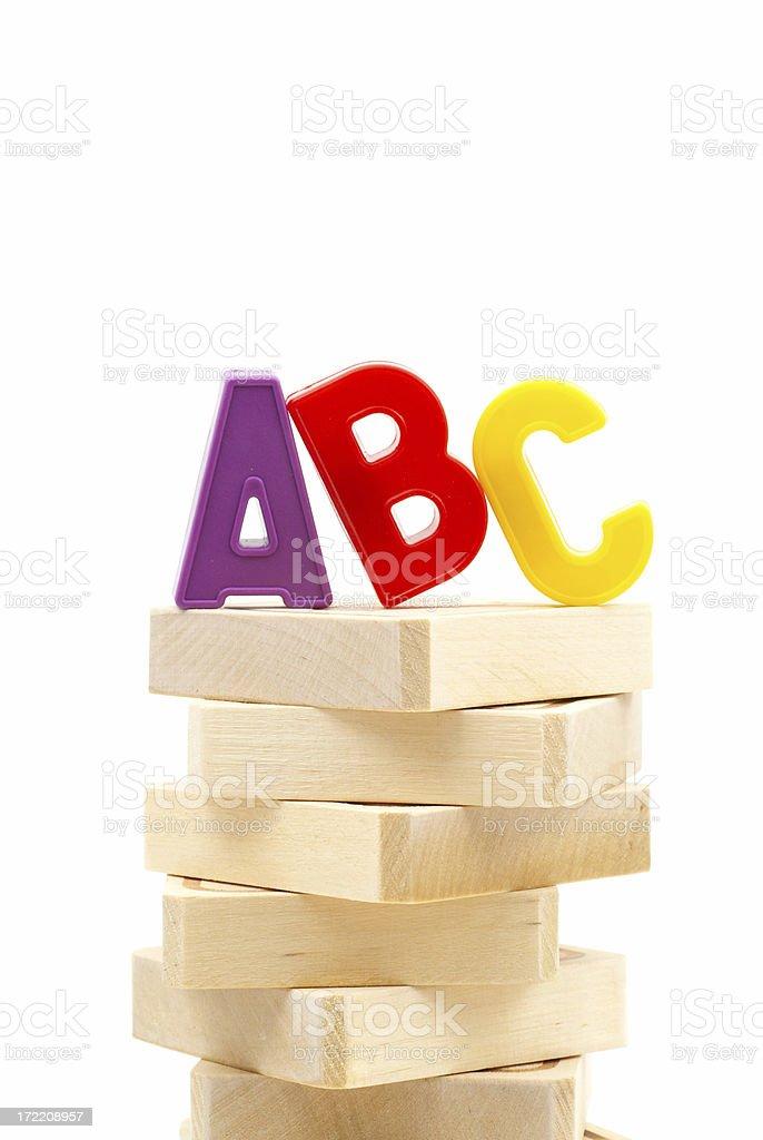 ABC on the wood blocks royalty-free stock photo