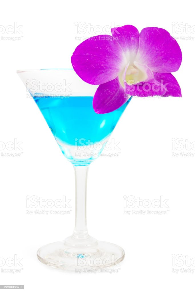 On top blue margarita cocktail isolated stock photo