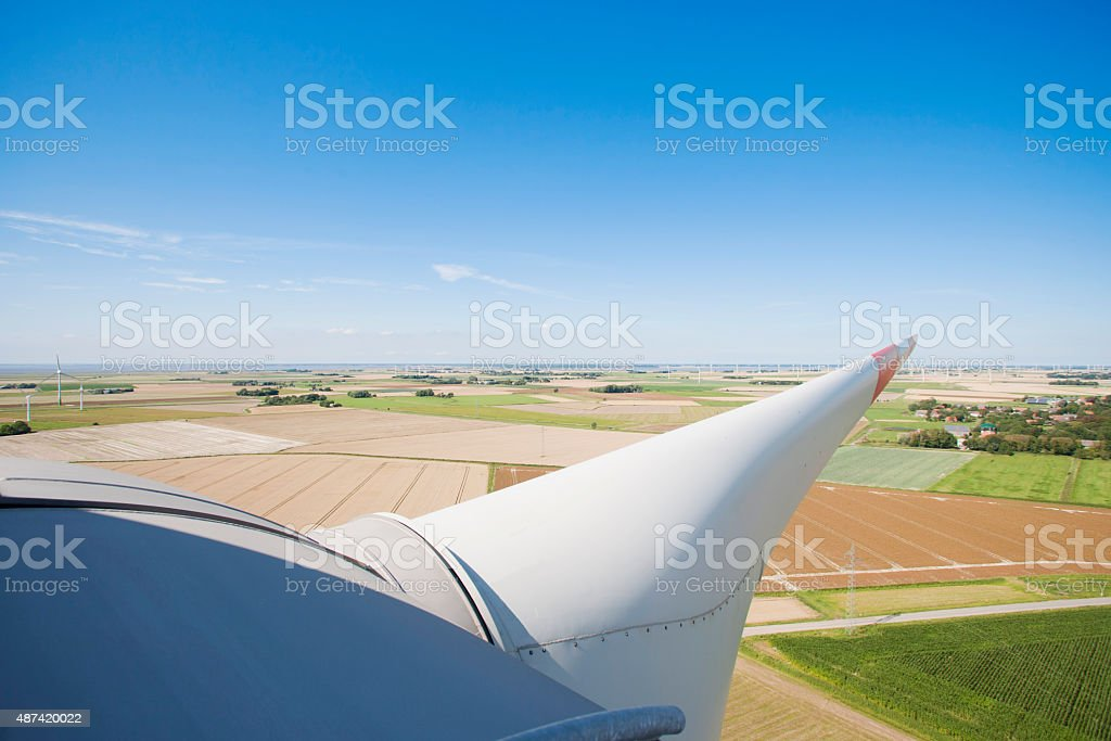 On top of a windmill in german north sea region stock photo