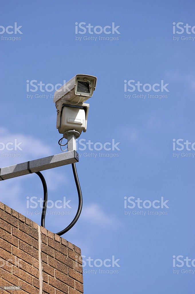 CCTV on top of building royalty-free stock photo