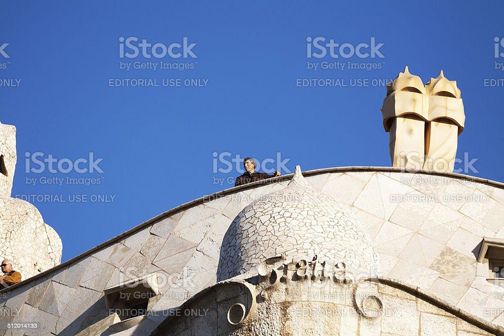 On top of Casa Mila stock photo