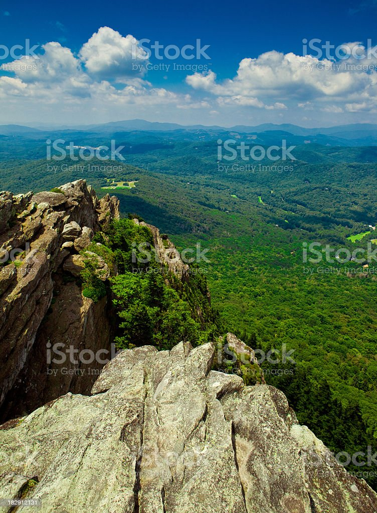 On top of Grand Father Mountain stock photo