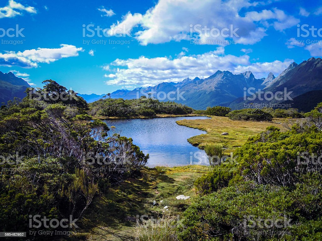 On top of Key Summit - Routeburn Track stock photo
