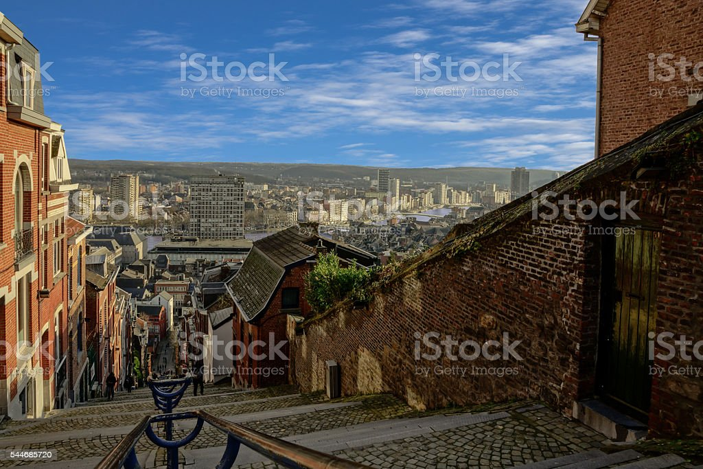 On top of montagne de bueren in Liege belgium. stock photo