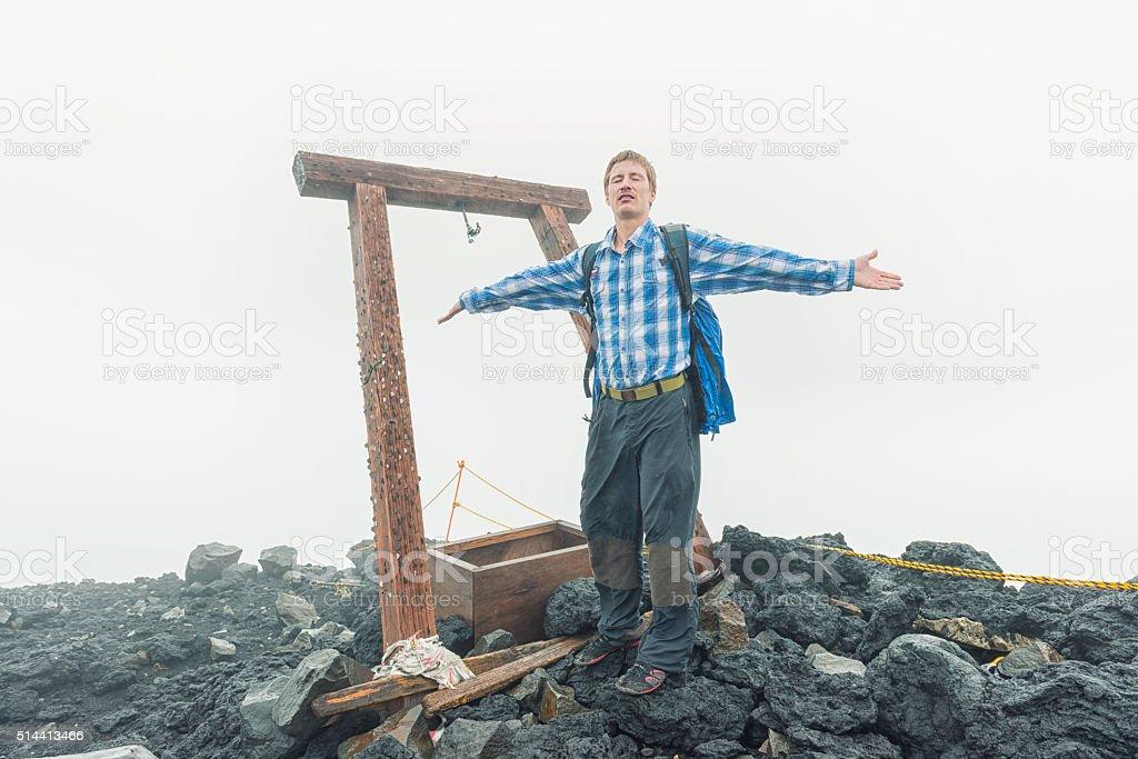 On top of Mt Fuji stock photo