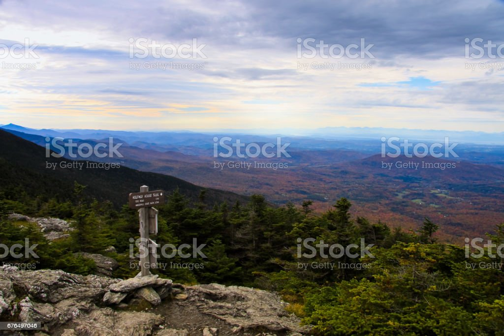 On top of Mt Mansfield at fall season stock photo