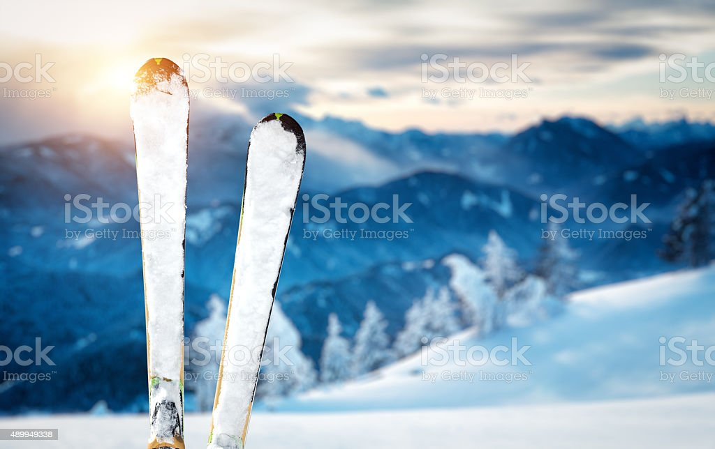 On Top Of Ski Slope stock photo