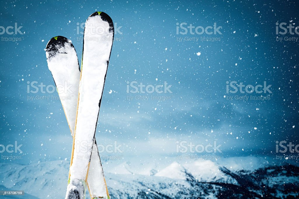 On Top Of Ski Slope stock photo