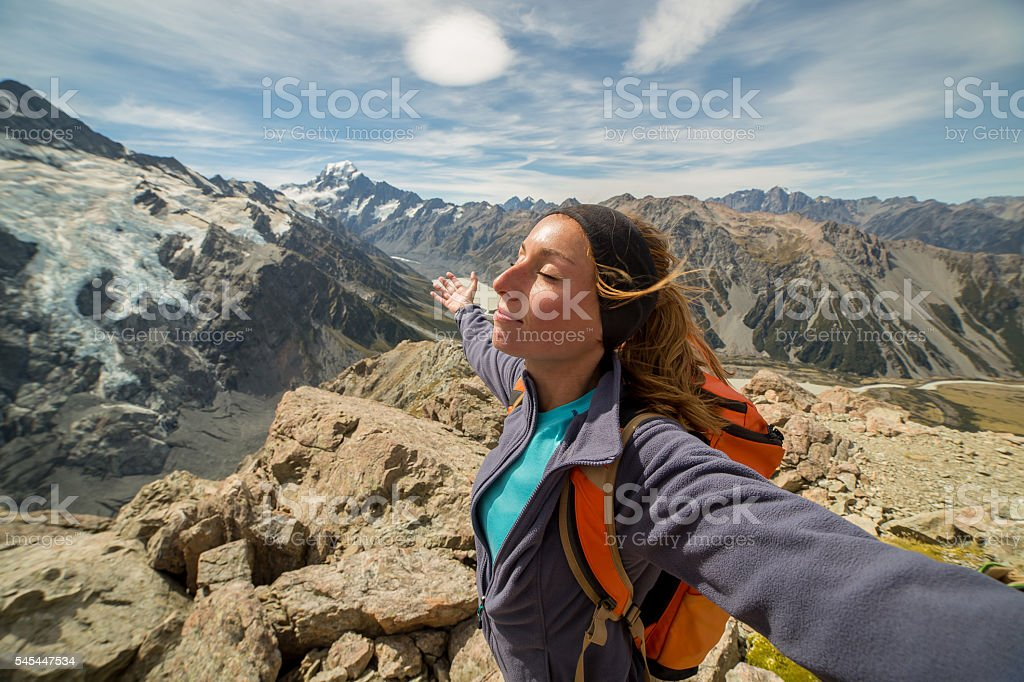On top of the world stock photo