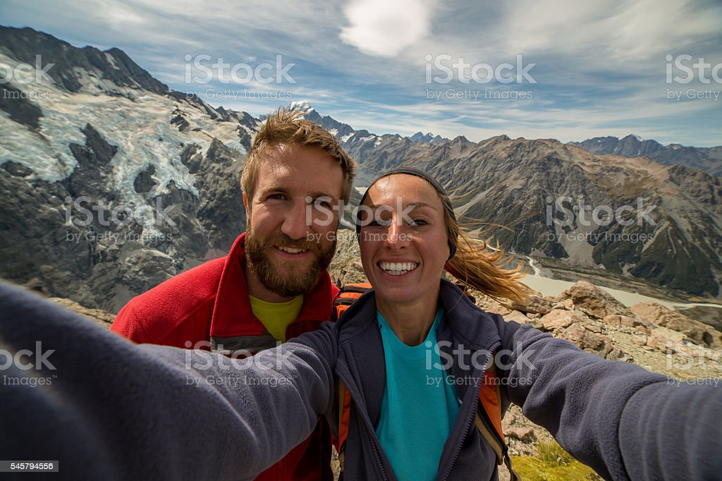 On top of the world! Selfie! stock photo