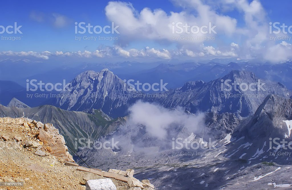 On top of the Zugspitze. stock photo