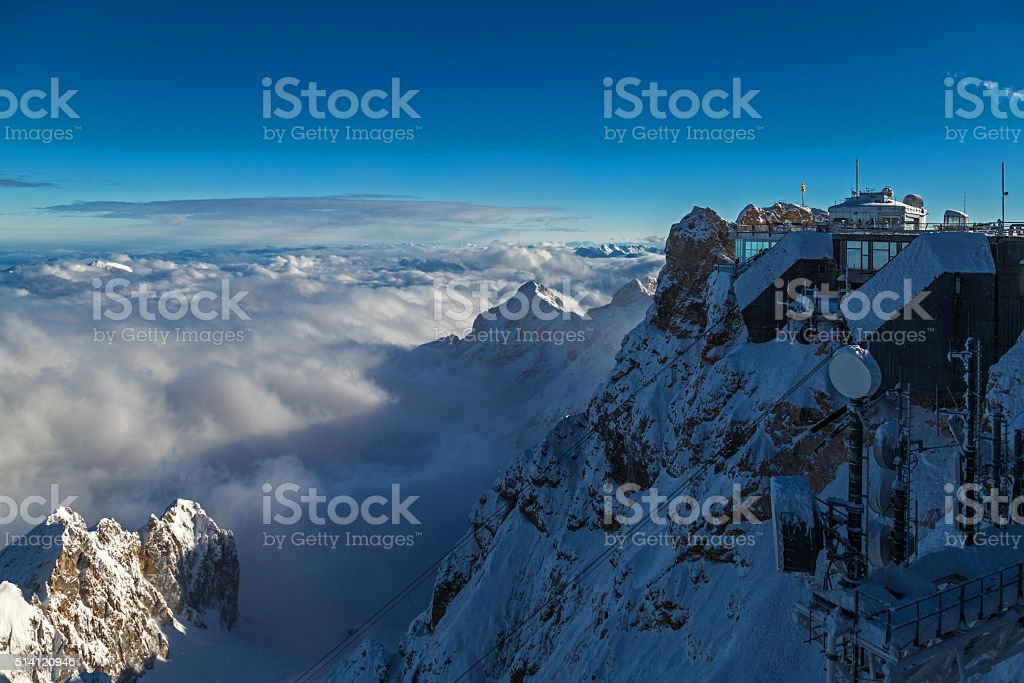 On top of Zugspitze, Germany stock photo