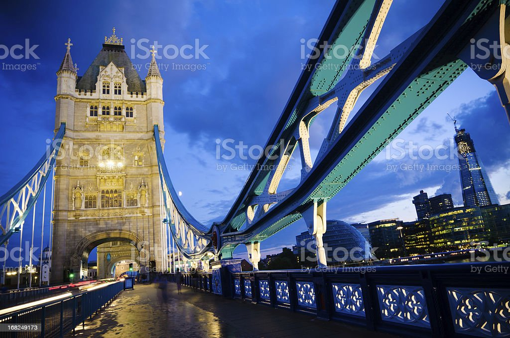 On Tower Bridge in London, England at night royalty-free stock photo