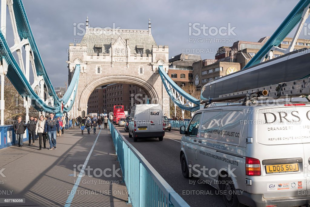 On Tower Bridge in London on a morning in winter stock photo