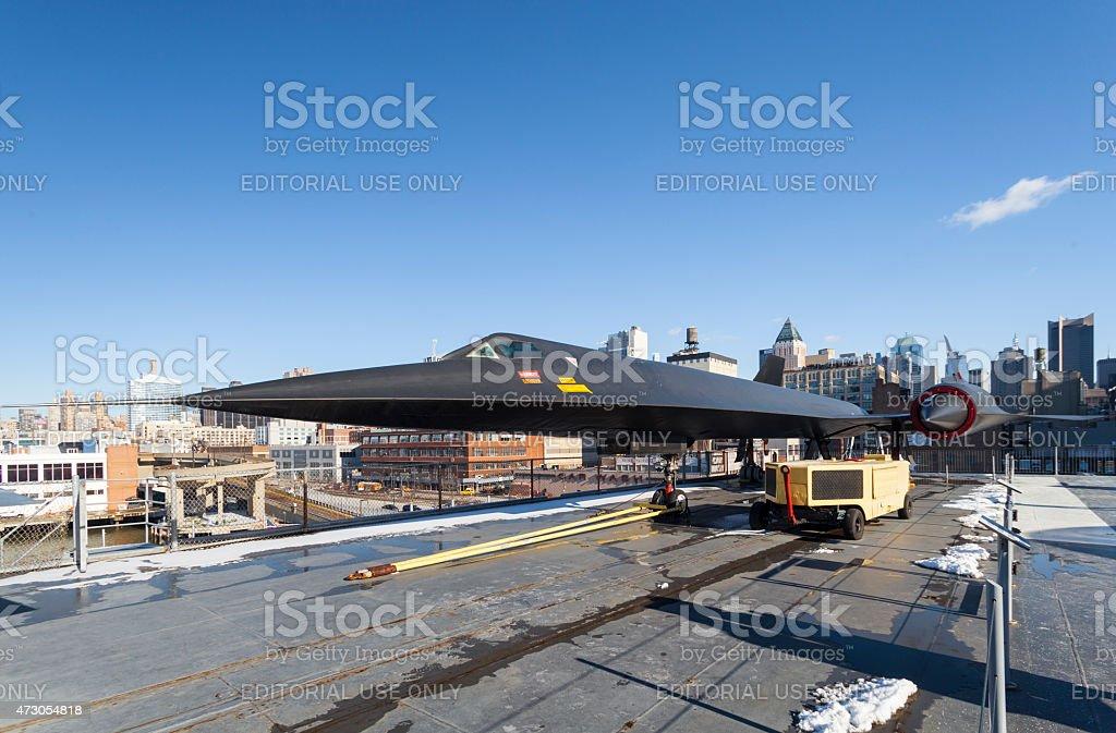 SR-71 on USS Intrepid stock photo