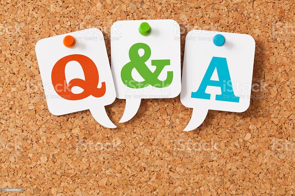 Q&A on white speech bubbles stock photo