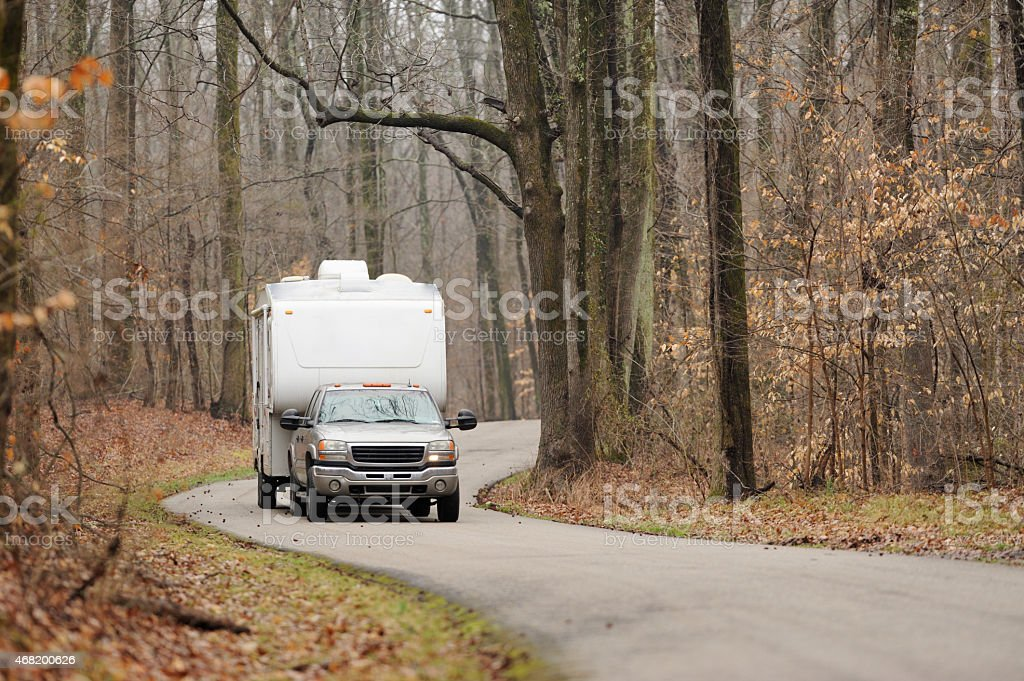 RV on winding road stock photo