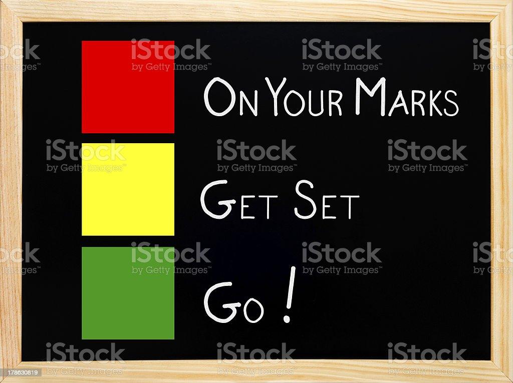 On Your Mark, Get Set, Go,traffic light concept blackboard stock photo