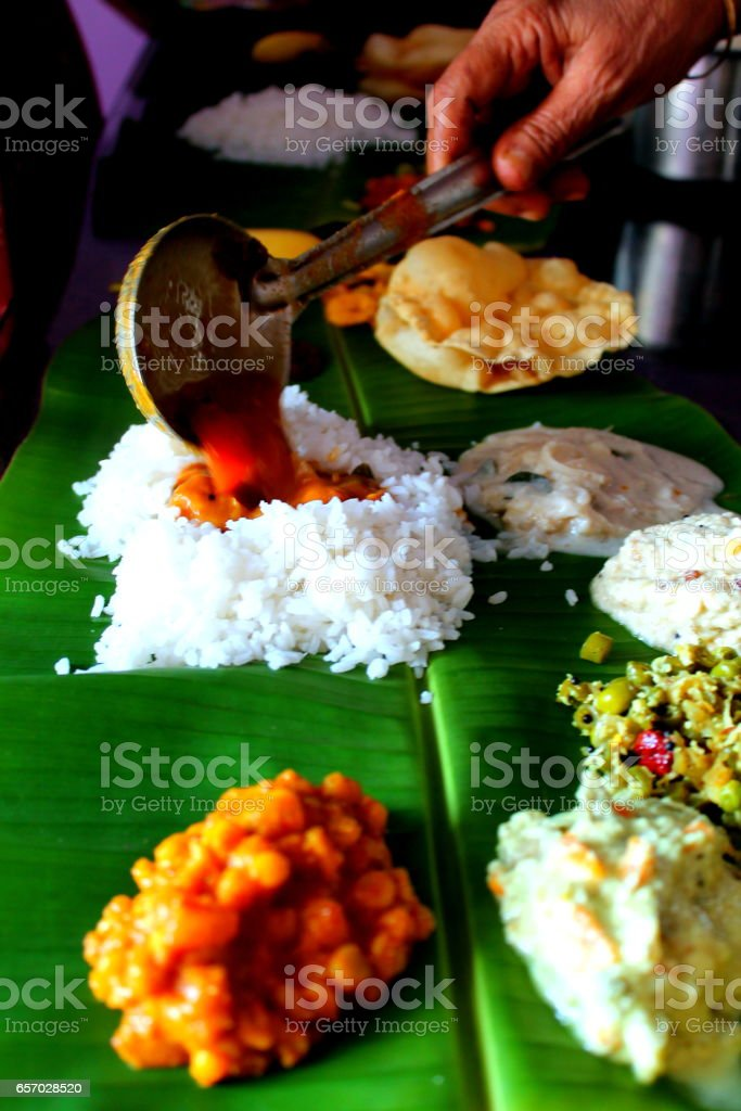 Onam feast stock photo