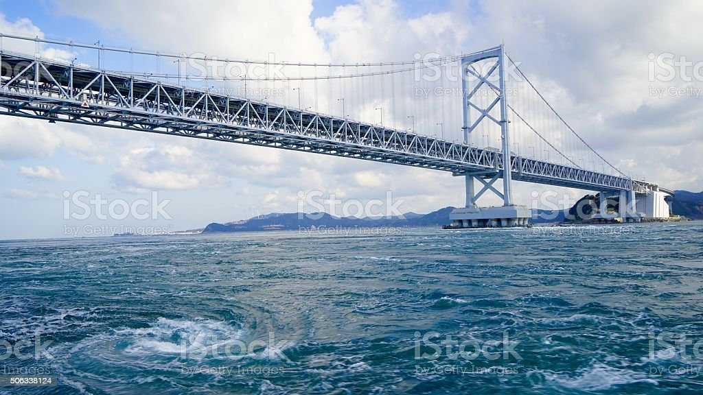 Onaruto Bridge and the tide which whirlpools stock photo