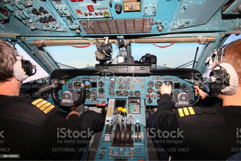 Onboard Antonov An-74, flight to ice camp Barneo, International Airspace stock photo