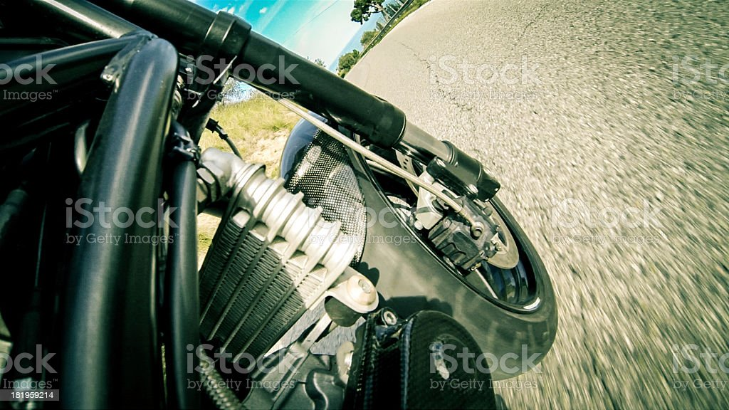 Onboard camera on a motorcycle royalty-free stock photo