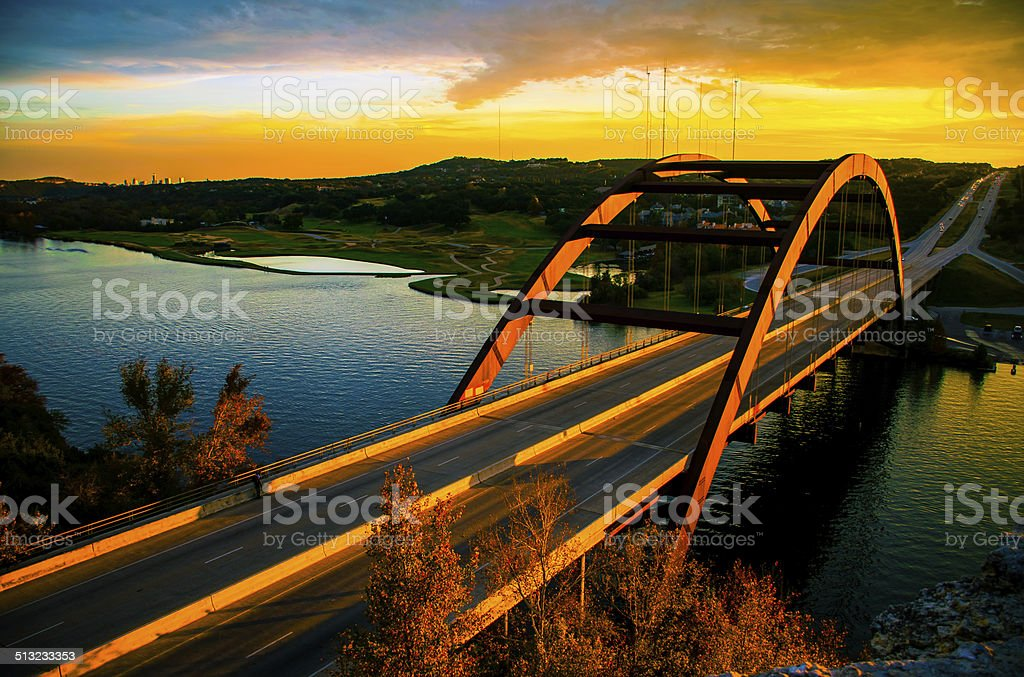 Once in a lifetime Sunset overlooking 360 Pennybacker Bridge stock photo