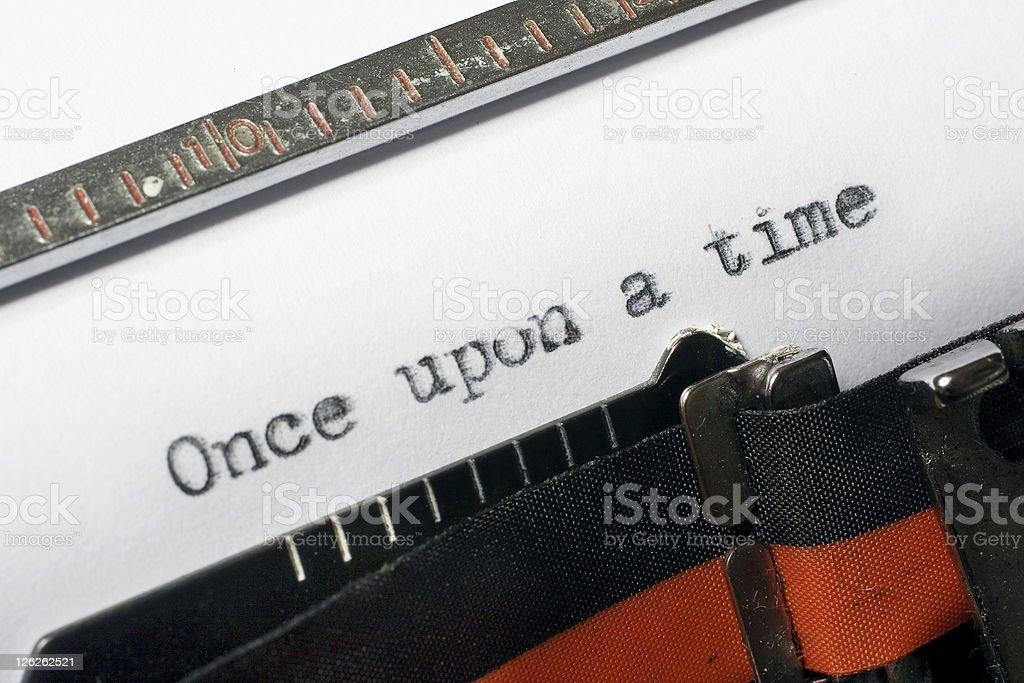 Once upon a time being written on typewriter stock photo