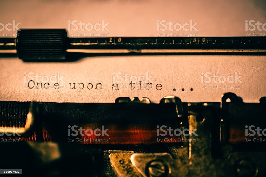 'Once upon a time' typed using an old typewriter stock photo