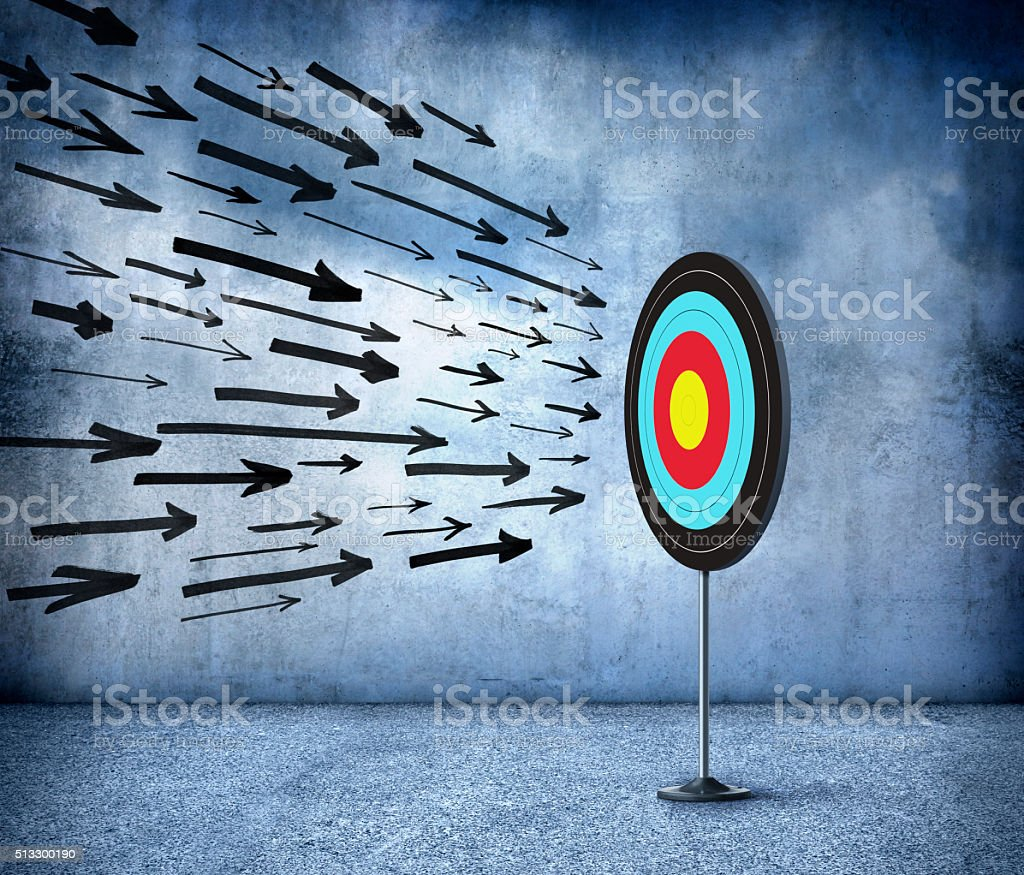 Oncoming Arrows About To Hit Bullseye On Target stock photo