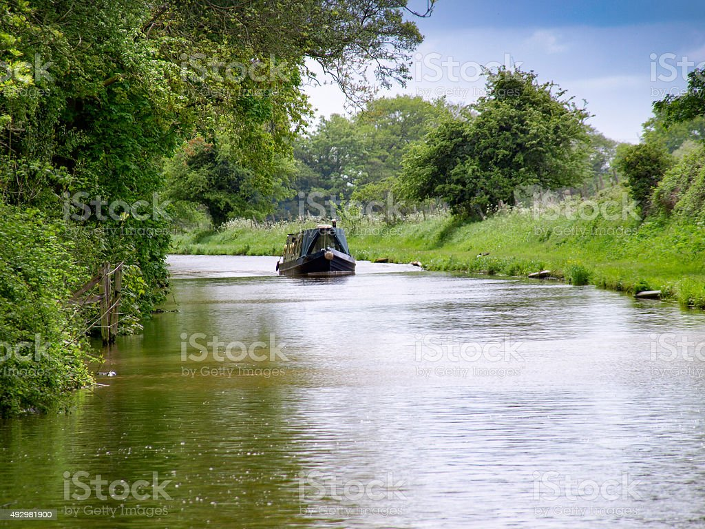 Oncoming Narrowboat stock photo