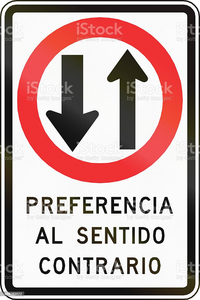 Oncoming Traffic Has Priority in Chile stock photo
