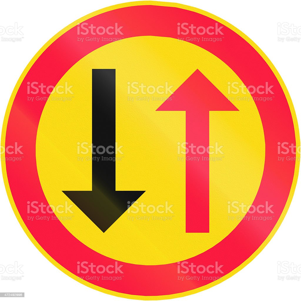 Oncoming Traffic Has Priority in Finland stock photo