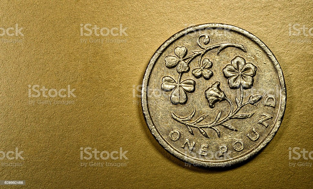 One 1 Pound British Currency Sterling Coin stock photo