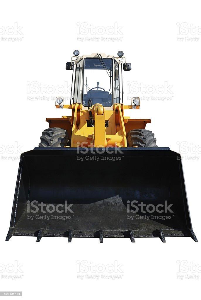 One actual new bulldozer on white stock photo