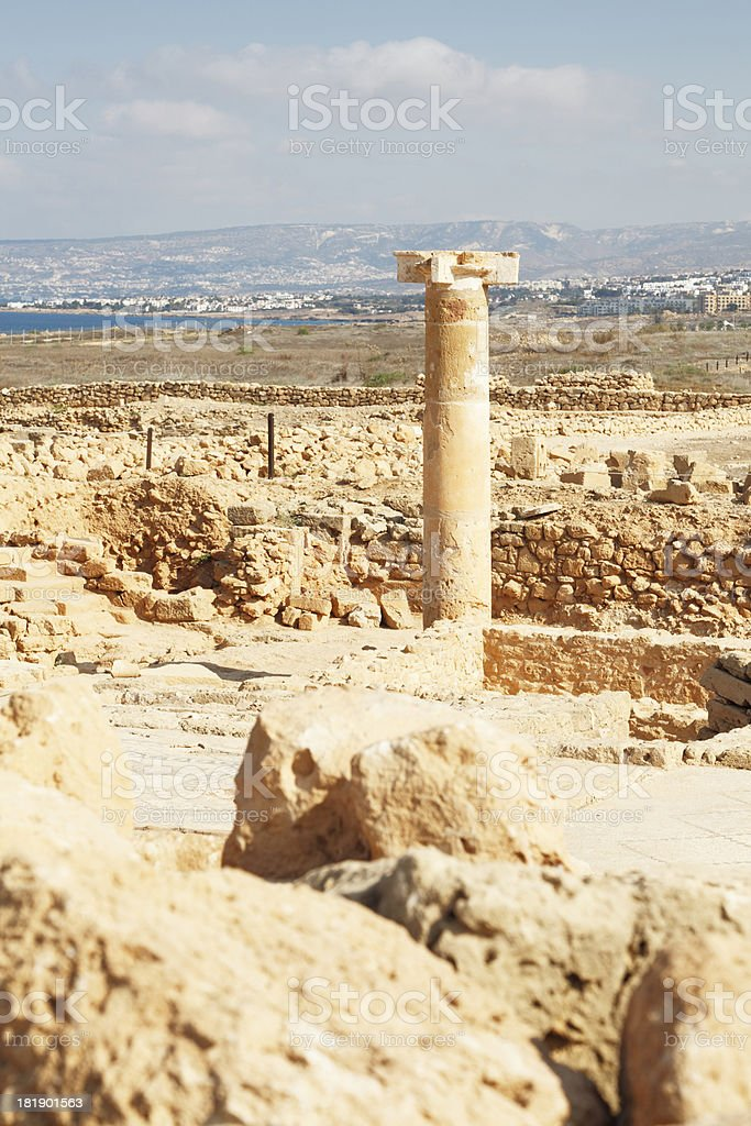 one  ancient lonely single column Paphos roman archaeological site Cyprus royalty-free stock photo