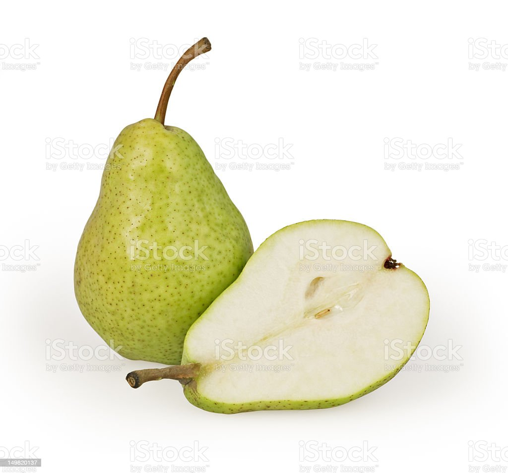 One and a half pears on a white background stock photo