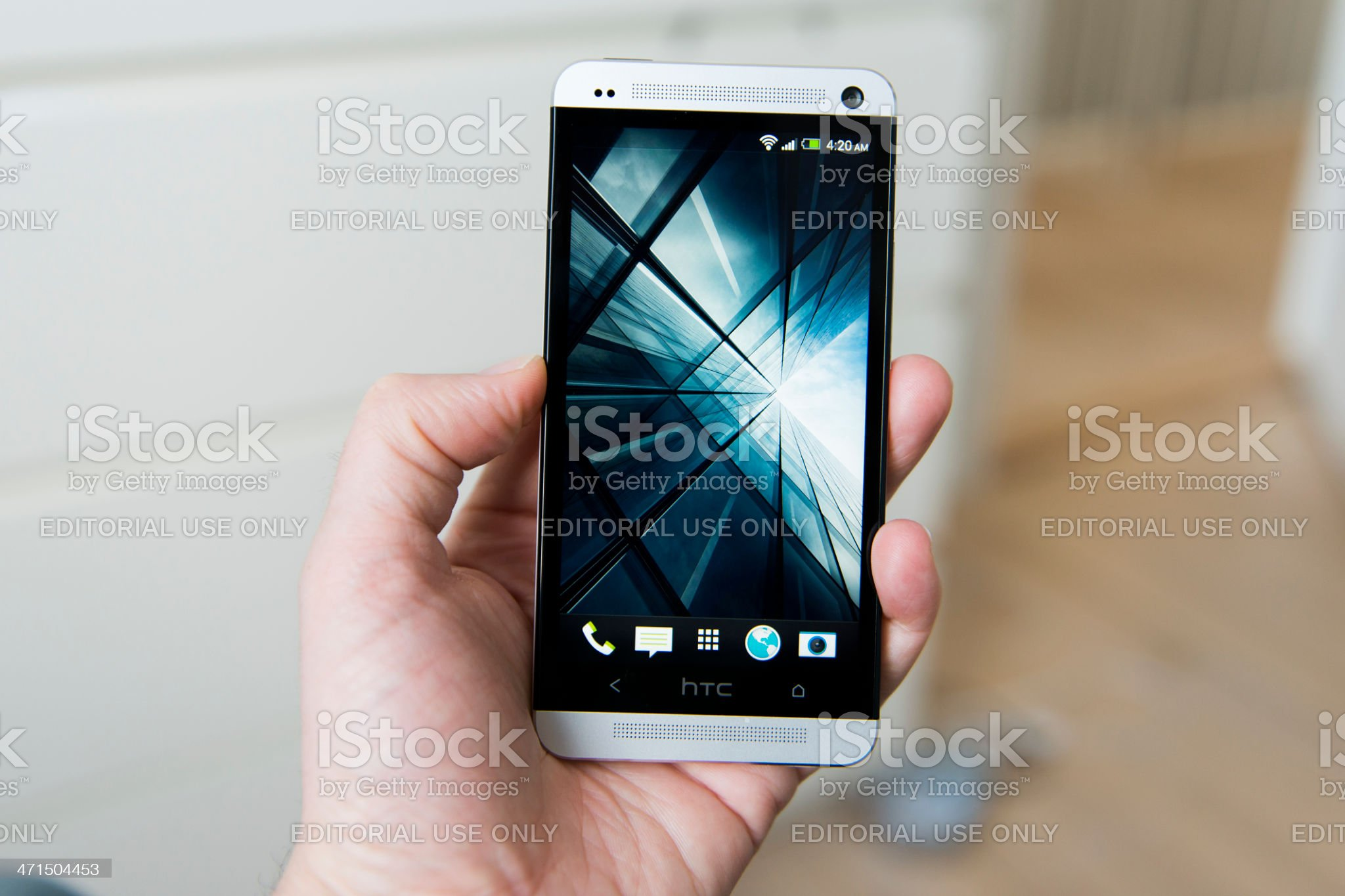 HTC One – Android phone with aluminum body royalty-free stock photo