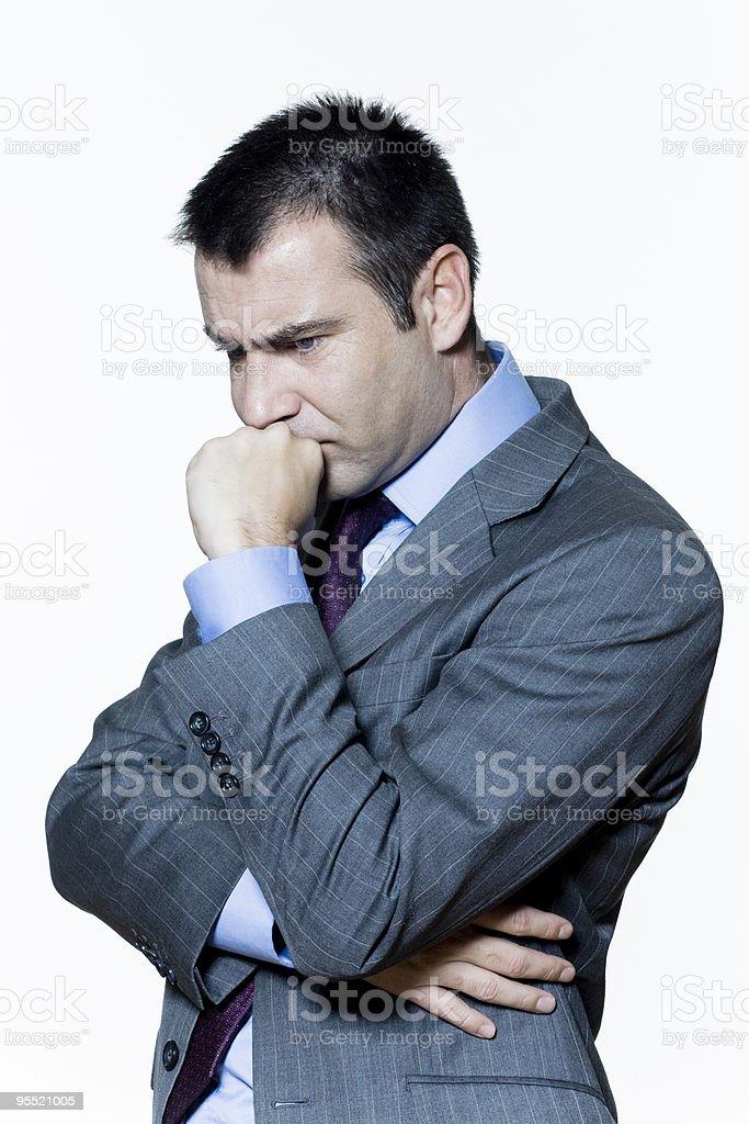 one anguish thinking pensive anxious business man stock photo