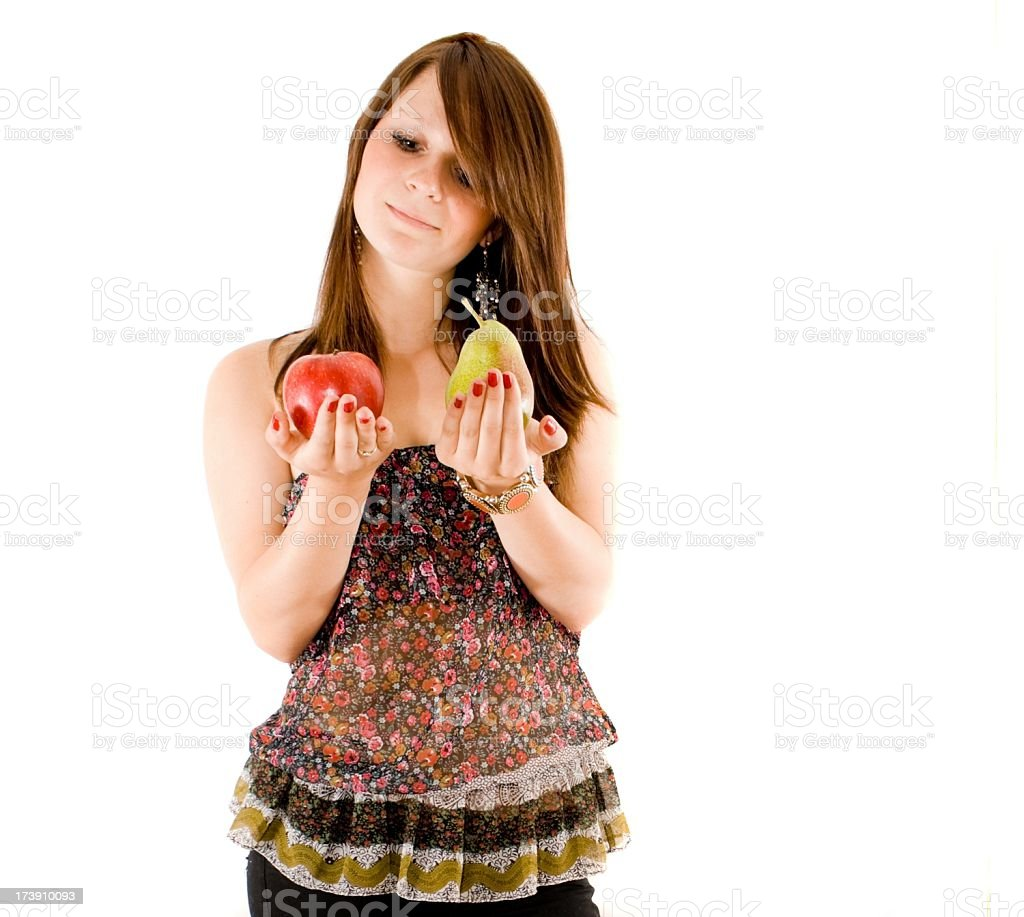 one apple and a pear royalty-free stock photo