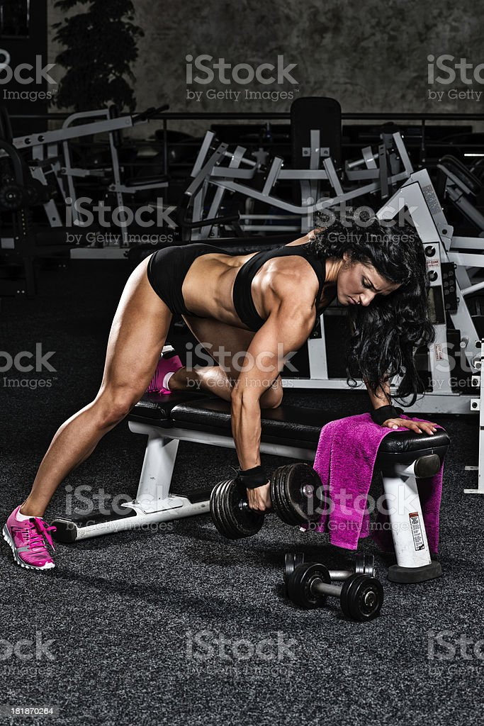 One arm dumbbell row royalty-free stock photo