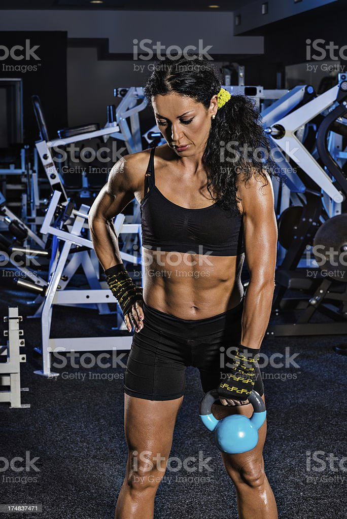 One arm kettlebell exercise royalty-free stock photo
